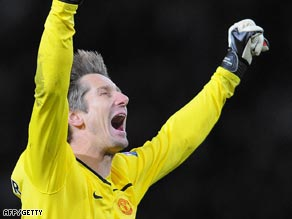 Van der Sar was left to celebrate a United win and a new goalkeeping record.