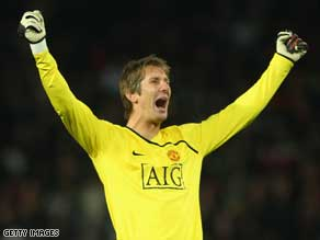 Triumphant: Edwin van der Sar holds the British goalkeeping record for most time without conceding.