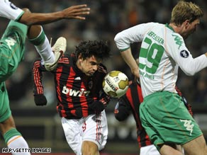 Inzaghi stoops to score as Italian giants returned from Werder Bremen with a UEFA Cup first leg draw.