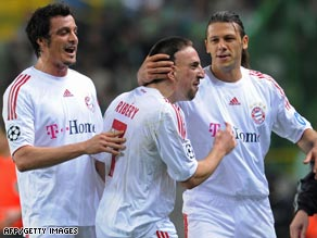 Ribery (center) celebrates one of his goals as Bayern Munich thumped Sporting Lisbon 5-0.