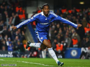 Didier Drogba celebrates his goal as Chelsea took a narrow advantage after their home tie against Juventus.