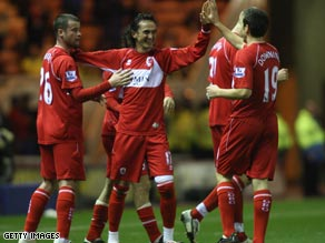 Tuncay (center) celebrates Middlesbrough's second goal in their 2-0 victory over West Ham.