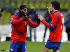 Vagner Love (left) and Yuri Zhirkov combined to send Aston Villa spinning out of the UEFA Cup.