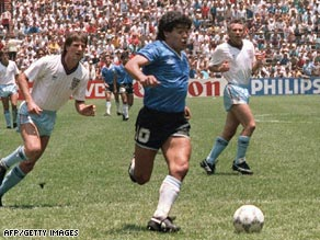 Diego Maradona's second strike against England at Mexico 86 tops our greatest-ever goal list.