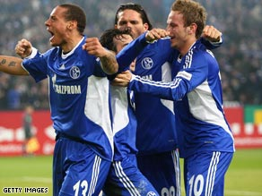 Jones (left) celebrates his goal as Schalke entered the Bundesliga title race with a 1-0 win over Cologne.