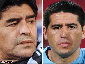 Maradona (left) and Riquelme are at odds after he left the Boca player out of a friendly.