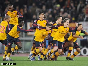 Winners: Arsenal beat Roma 7-6 on penalties after one of their fans was injured before the game.