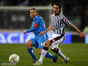 Midfield action from the Udinese - Zenit tie which saw the holders beaten 2-0.