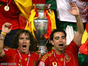 European champions Spain are ranked No.1 by FIFA in their world rankings.