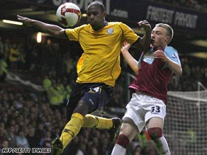West Bromwich Albion defender Shelton Martis (left) challenges for the ball in the 0-0 draw at Upton Park.