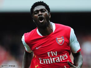 Arsenal striker Emmanuel Adebayor scored the World Cup winner for Togo on his return from injury.