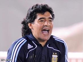 Maradona shows his delight as his star-studded team beat Venezuela.