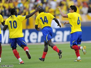 Noboa (far right) denied Brazil victory in Quito with a late equalizer.