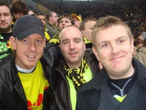 Matthew Gerrard (right) enjoying the convivial atmosphere of Borussia Dortmund's Signal Iduna Park.