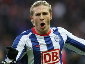 Voronin left Liverpool for Hertha on loan following the arrival of Robbie Keane.