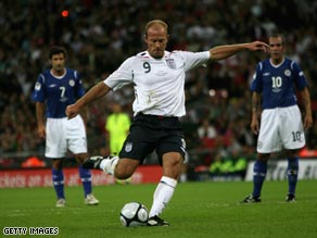 Alan Shearer pictured taking part in a charity football match at Wembley in September 2008.