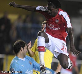 Togo striker Adebayor snatched Arsenal a vital away goal with a spectacular scissor-kick in Spain.