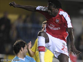 Emmanuel Adebayor's goal has put Arsenal on course for a place in the Champions League semifinals.