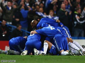 Chelsea celebrate aftera dramatic eight-goal thriller at Stamford Bridge sent them to the semifinals.
