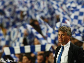 Hiddink in front of the Chelsea fans during the 4-4 Champions League draw against Liverpool.