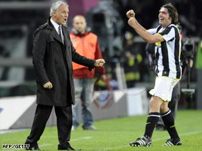 Juve manager Claudio Ranieri shows his delight with Grygera after his equalizer.