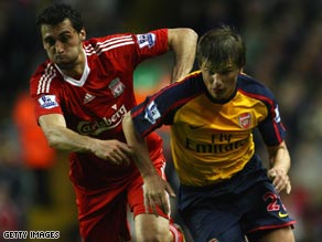 Russian Arshavin hit four goals for the first time in his career in a dramatic eight-goal Anfield thriller.
