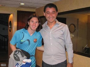 Barca fan Reda Benzakour with Lionel Messi