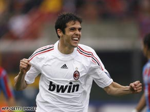 Kaka celebrates scoring Milan's second goal in their 2-0 victory at Catania on Sunday.