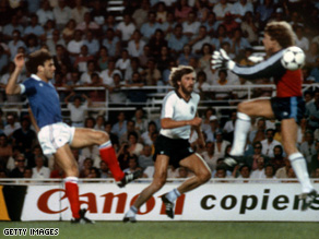 Free foul? Harald Schumacher was not punished for this leaping challenge on France's Patrick Battiston.