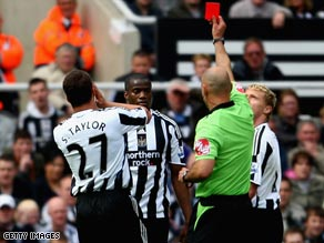 Newcastle have Sebastien Bassong sent off as they slump back into the Premier League drop zone.