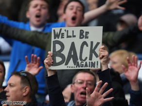 West Bromwich-Albion fans show their support as the club was relegated from the Premier League on Sunday