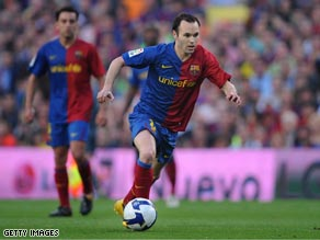 Ferdinand and Iniesta locked horns in last year's Champions League semifinals.