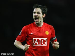 Veteran full-back Gary Neville is recalled to the England squad for June's World Cup quailifiers.
