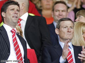 Sunderland chairman Niall Quinn, left, and new owner Ellis Short at the club's final game of the season.