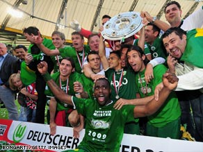 Wolfsburg were the surprise champions in Germany, after only 12 years in the top division.