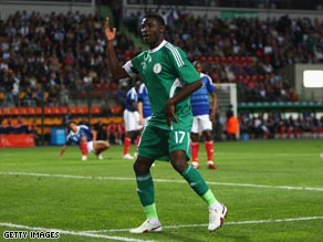 Akpala celebrates his 32nd minute goal for the Super Eagles.