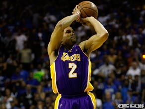 Derek Fisher's two late three-pointer helped give the Lakers a 3-1 advantage in the NBA finals.