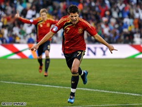 Villa celebrates his crucial goal as Spain beat Iraq 1-0 in Bloemfontein.