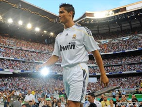 Cristiano Ronaldo is paraded in front of 80,000 passionate supporters at a packed Bernabeu stadium.