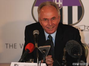 Sven-Goran Eriksson greets the media after completing a surprise return to English football with Notts County.