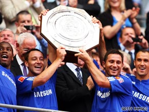 Chelsea collect the Community Shield after defeating Manchester United on penalties at Wembley.
