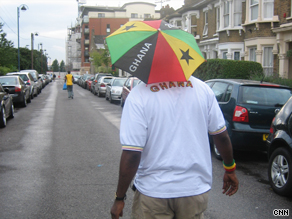 A Ghana supporter heads to the game against Zambia in London on Wednesday