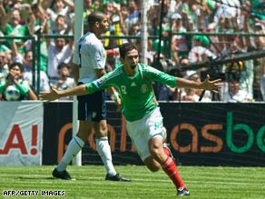 Mexico's Israel Castro celebrates after scoring against the United States in World Cup qualifying action.