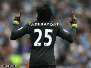Emmanuel Adebayor scored on his Manchester City debut in the 2-0 victory at Blackburn.