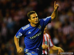 Lampard celebrates scoring from the penalty spot as Chelsea fought back to defeat Sunderland 3-1.