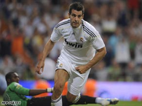 Negredo scores for Real Madrid in the Peace Cup earlier this month.