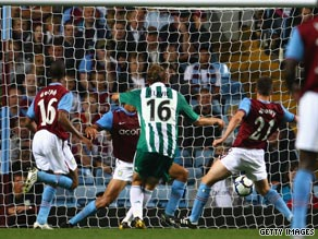Jelavic scores the goal that sees Aston Villa crash out of the Europa League at the qualifying stage.