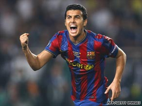 Pedro Rodriguez celebrates scoring the only goal as Barcelona lifted the European Super Cup.