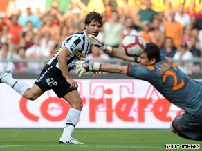 Juventus hero Diego gives Roma goalkeeper Julio Sergio no chance with one of his two goals.