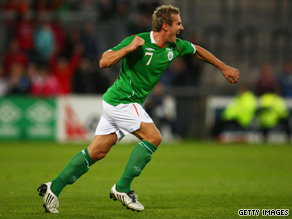 Liam Lawrence celebrates his goal as Ireland claimed a narrow win over South Africa.